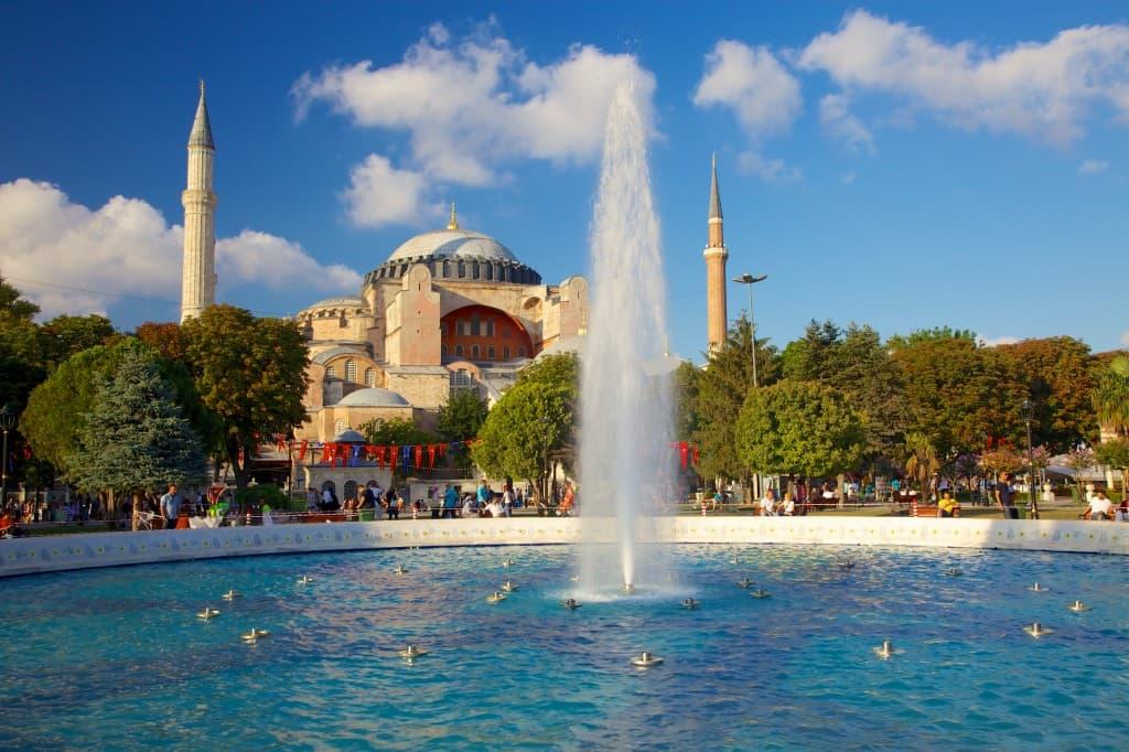 Hagia Sophia as seen across the water fountain