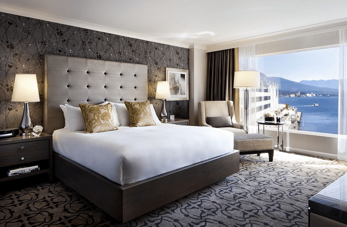 Fairmont Waterfront Hotel guestroom, Vancouver