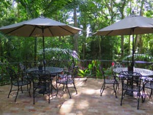 The patio at St. Nicholas Abbey is a fine spot to sip some of their rum.