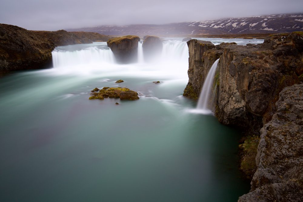 Group of waterfalls and cliffs in Godafoss