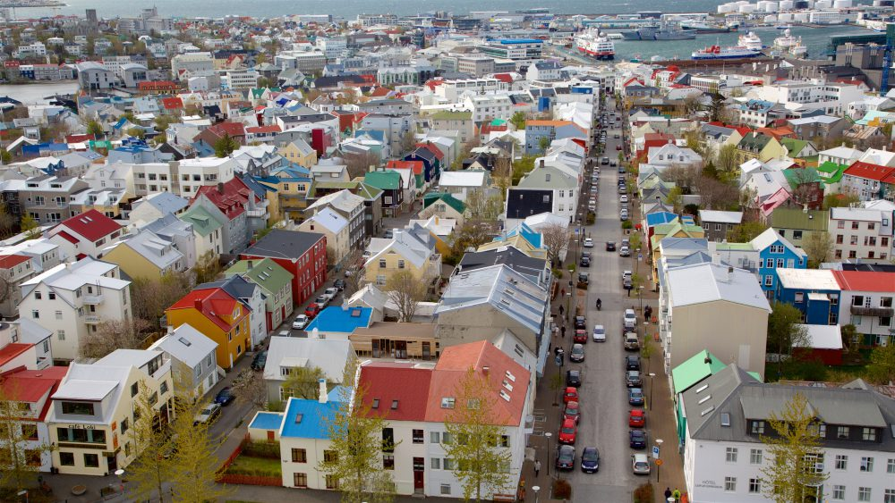 Aerial view of Reykjavik cityscape