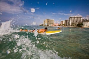 Waikiki Beach is an ideal place to learn to surf.