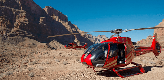 The helicopter tour of Grand Canyon