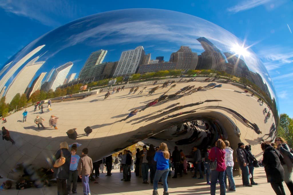 The Chicago Bean or, as it's more formally known, Cloud Gate.