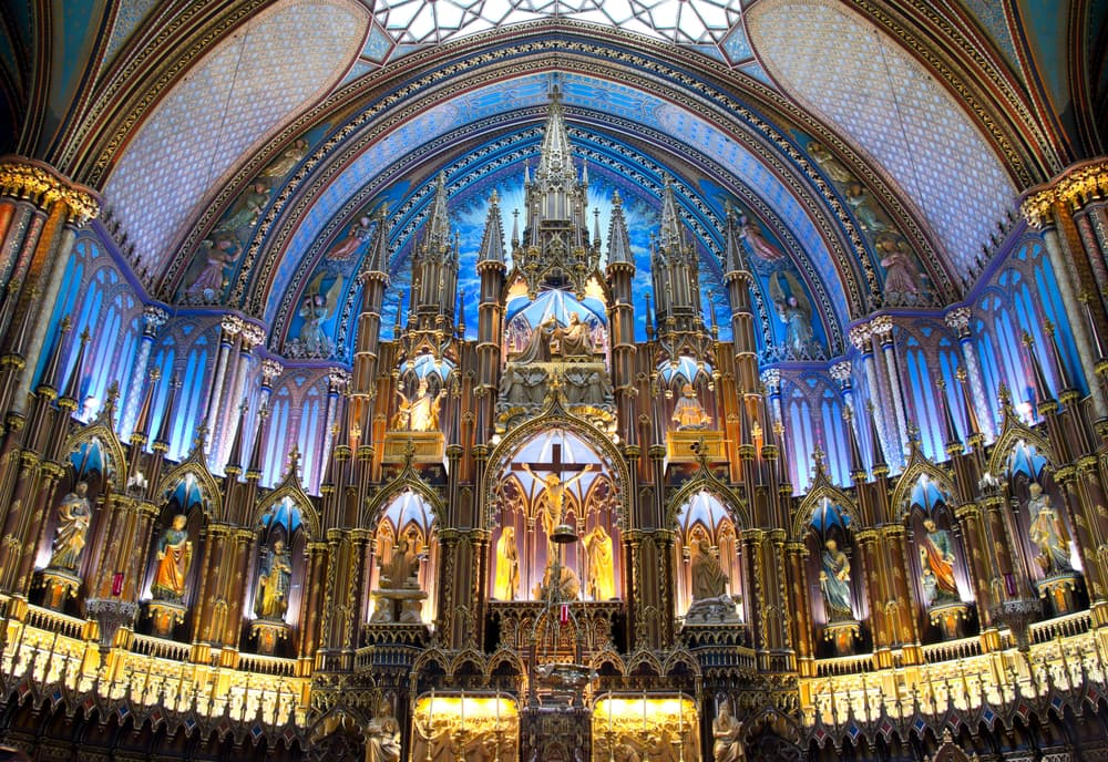 Inside Architectural of Notre-Dame Basilic of Montreal