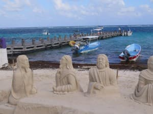 Sand sculptures on the beach in quiet Puerto Morelos, Mexico. It's a pretty town just south of Cancun. JIM BYERS PHOTO