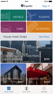 Expedia app landing page