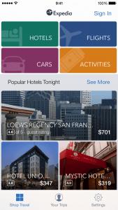 Expedia app landing page
