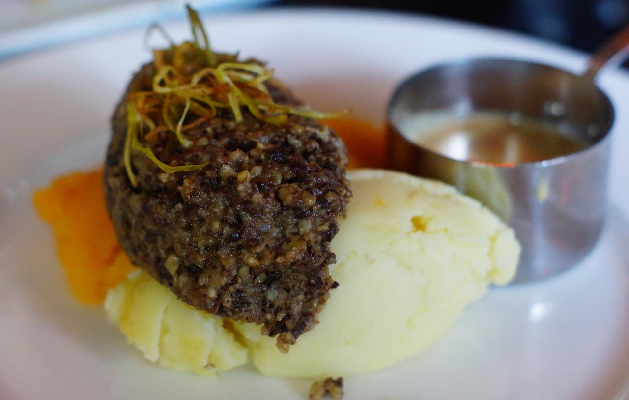 Haggis with neeps and tatties