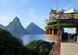 Jade Mountain is one of the most luxurious and unusual resorts in the Caribbean, with units that are open to the elements on one side.