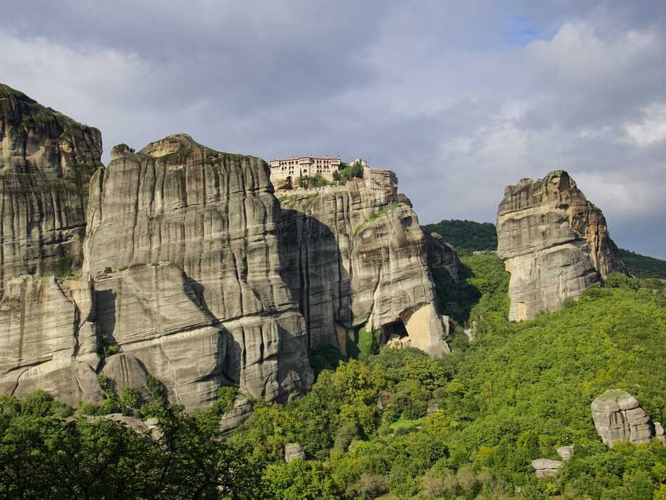 Views of Meteora's rock pillars