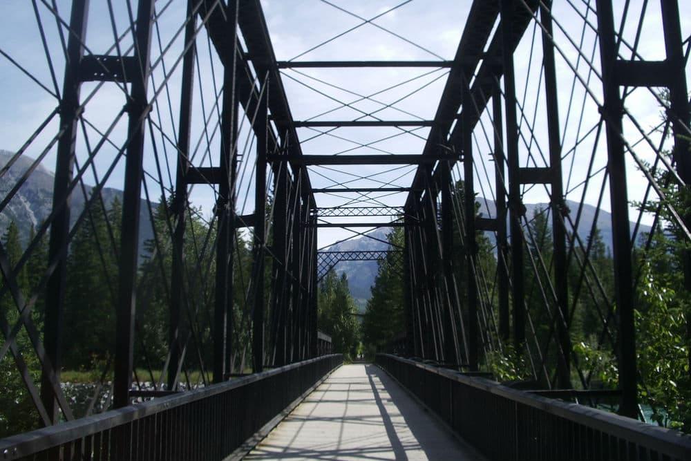 legacy trail, banff cycling, bridge