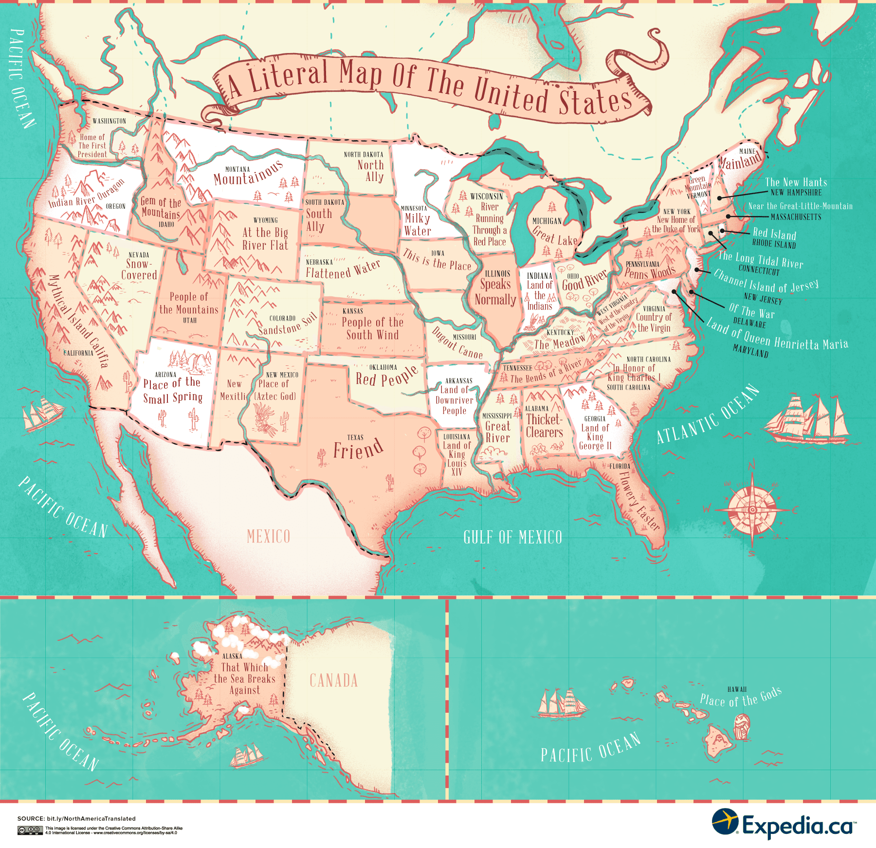 The Literal Translation Of Places In Canada The United States - Us map image with states