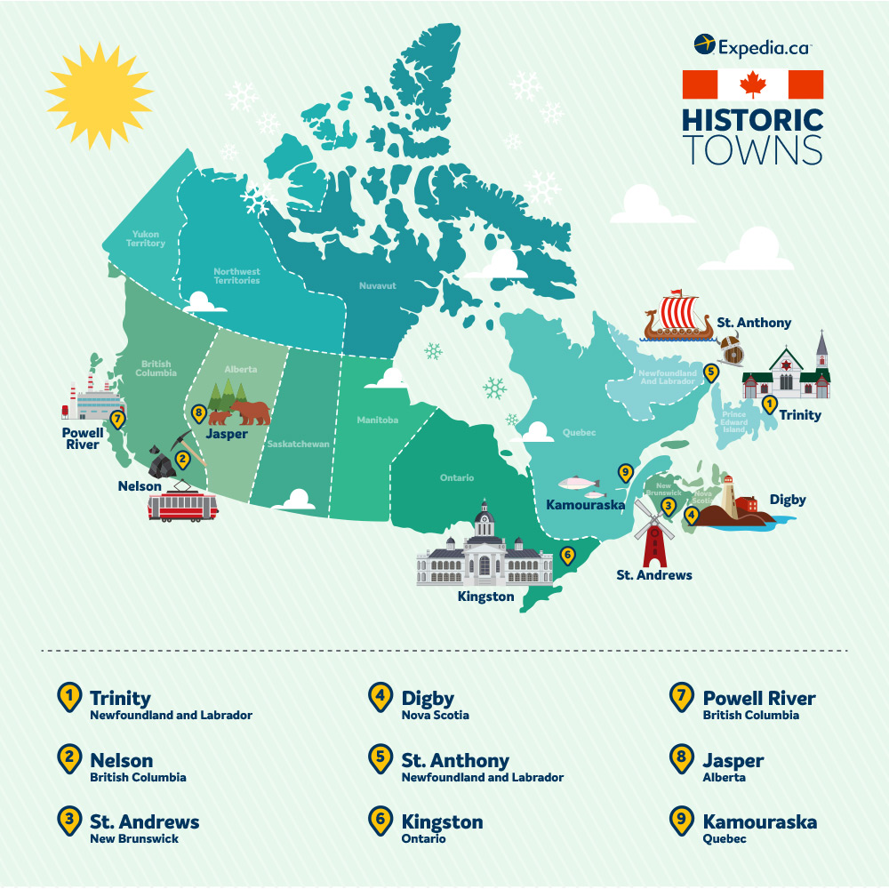 Map of historic towns in Canada