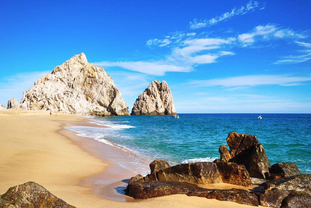 The shoreline of Lovers Beach in Cabo, Mexico
