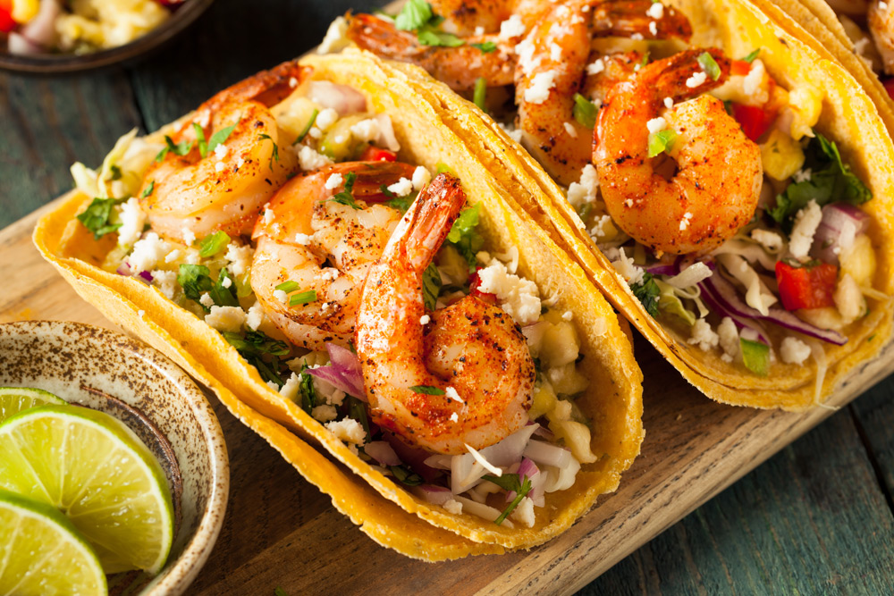 Shrimp taco, a top thing to eat in Cancun, Mexico