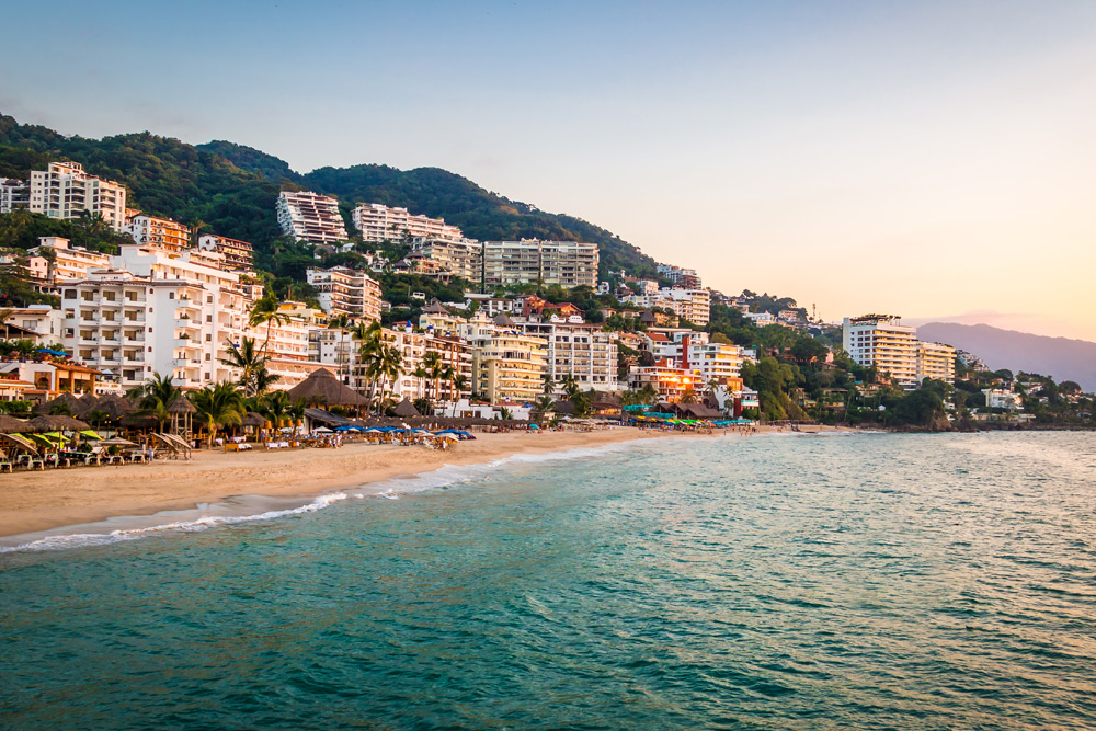 Views of the ocean and cityscape of Puerto Vallarta, Mexico