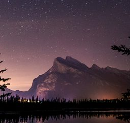 Skyline of Canadian landscape with purple starry sky above mountains in the distance and a still lake and trees on the horizo