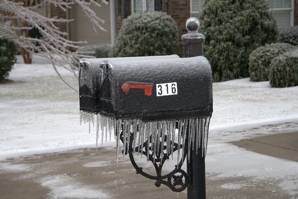 Frozen mailboxes in Kenora, ON, one of the coldest cities in Canada