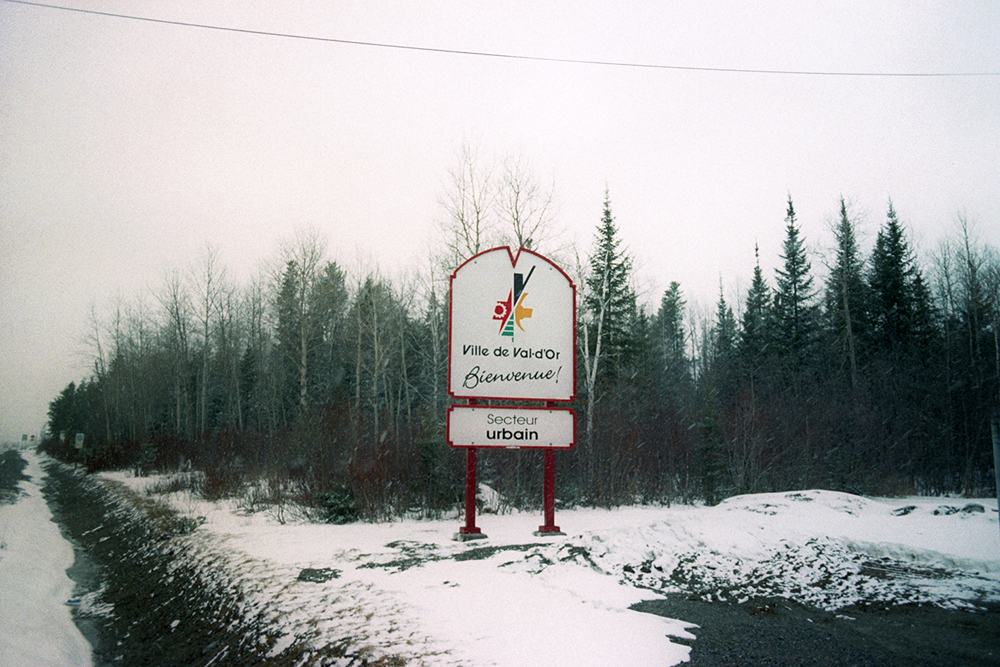 Welcome sign for Val-D'Or, QC, which is one of the snowiest cities in Canada