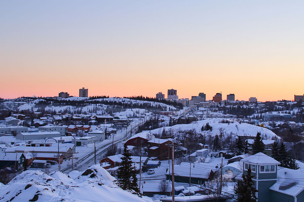 Aerial view of Yellowknife, NT, among the coldest cities in Canada