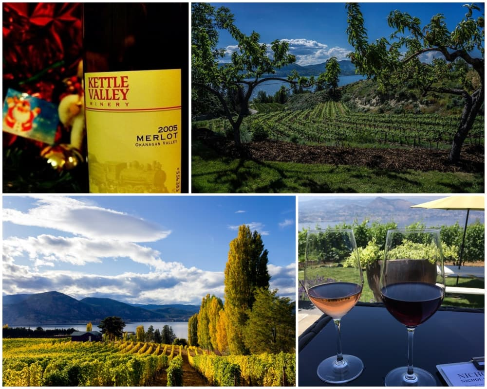Collage of wineries and vineyards in Naramata Bench area