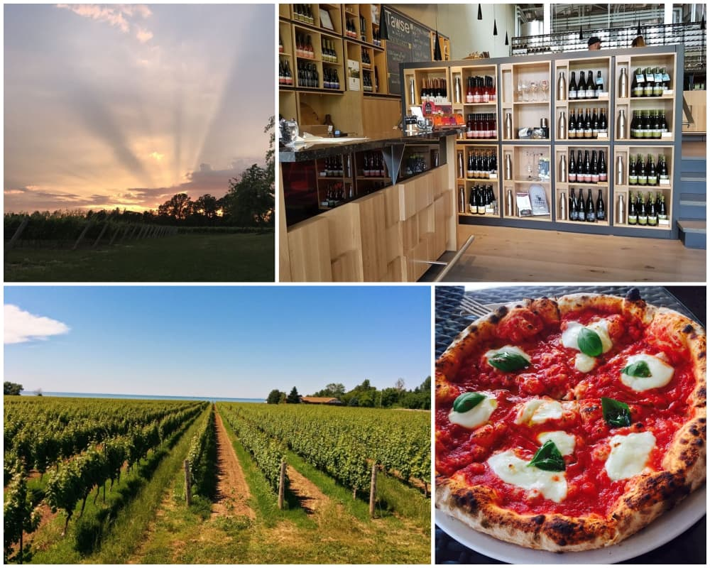 Collage of vineyards and wineries in Niagara-on-the-Lake