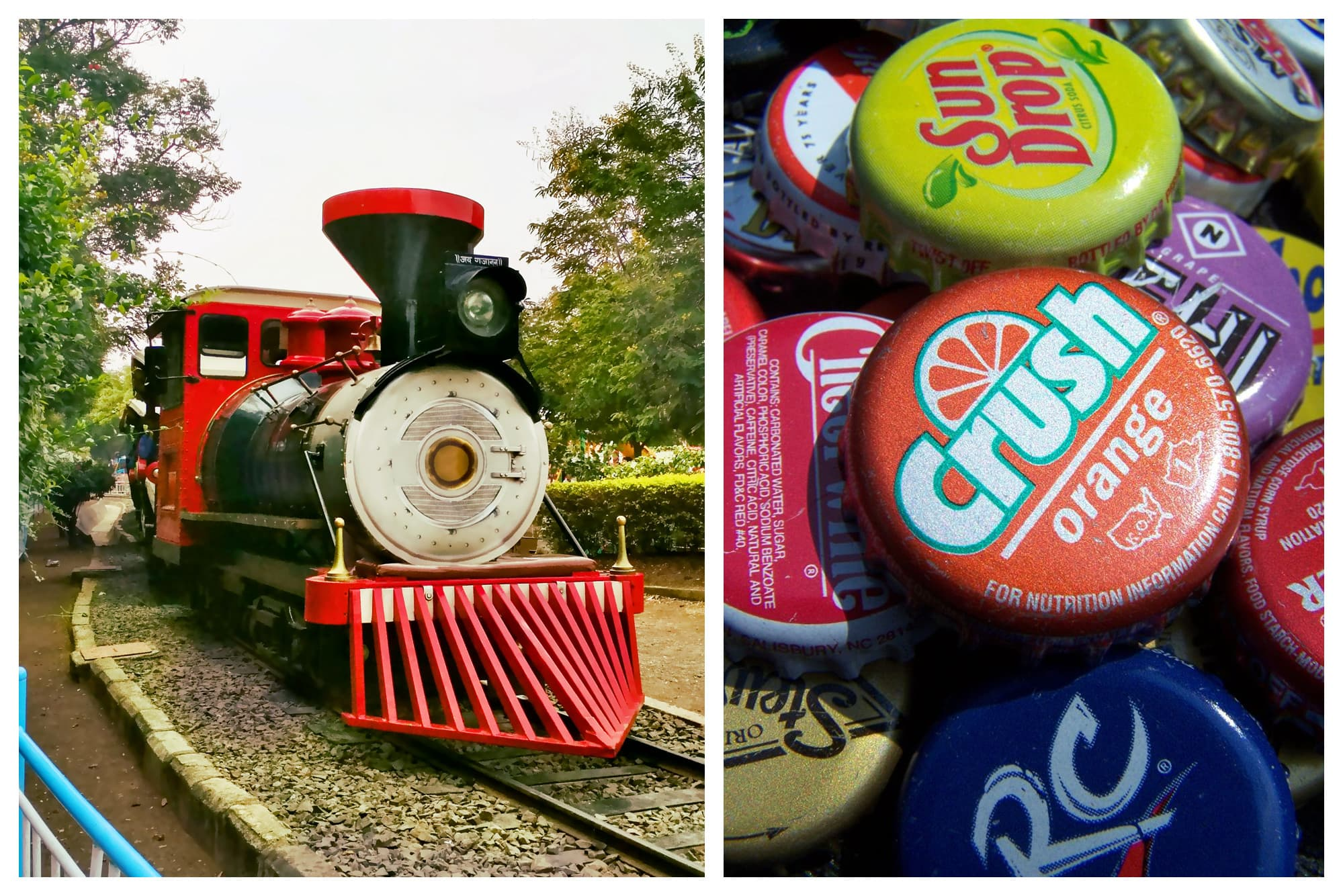 Old-fashioned train and old-fashioned soda bottle caps