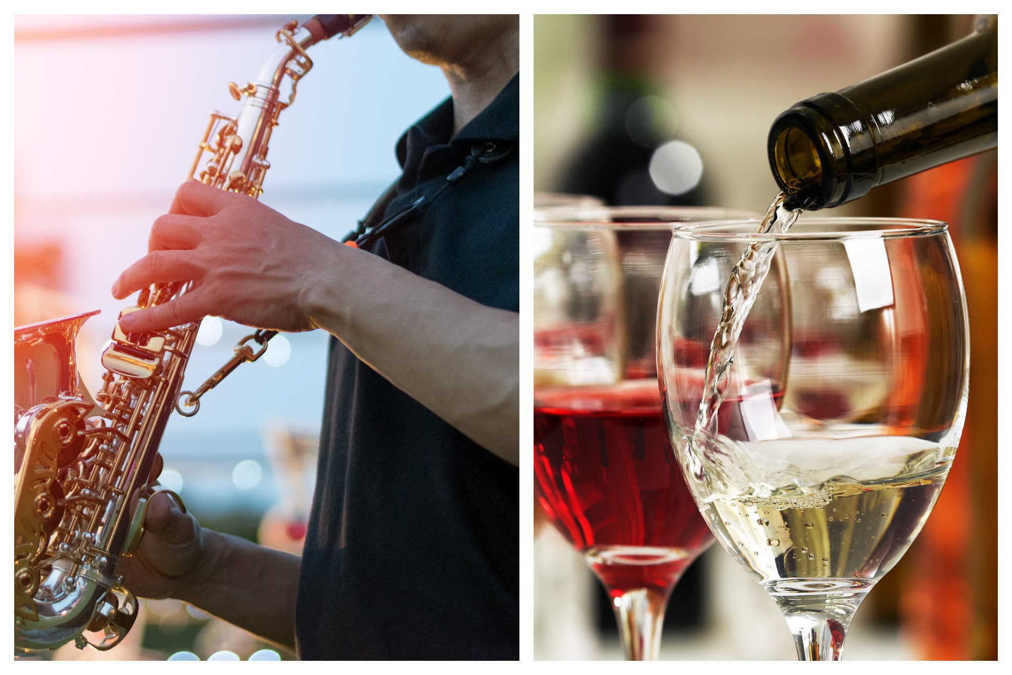 Jazz festival and pouring wine