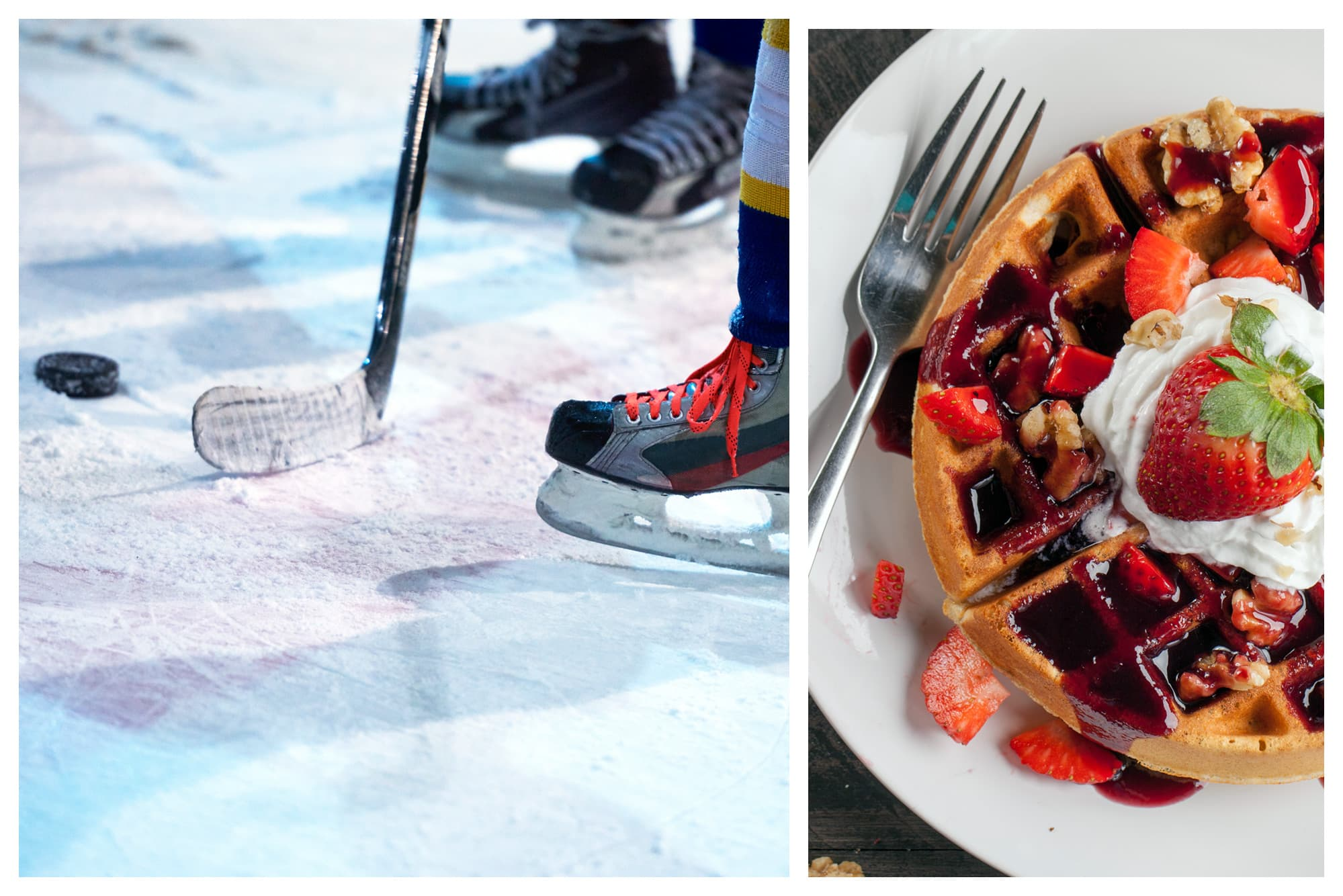 Hockey skates and stick on the ice and berry waffles