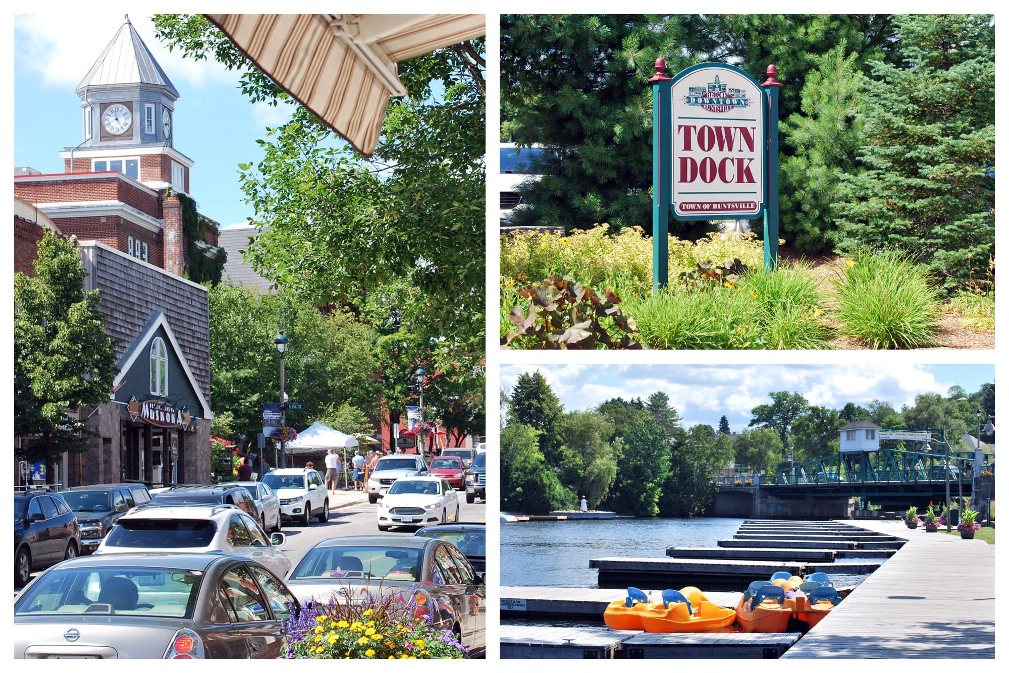 Views of Downtown Huntsville, Ontario, along with the boat dock