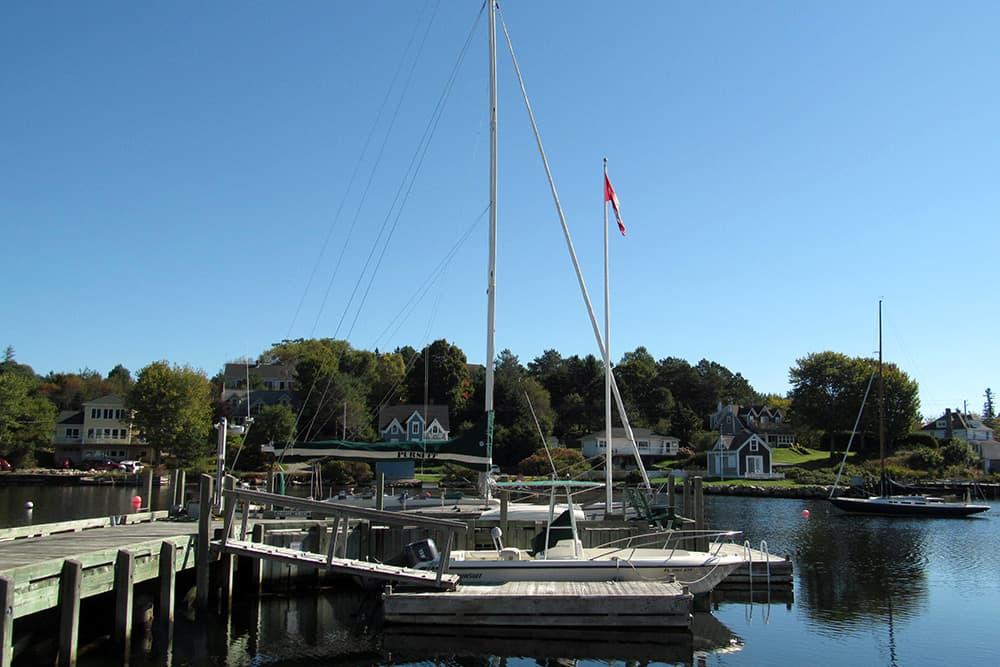 Boats in a harbor in Chester, Nova Scotia