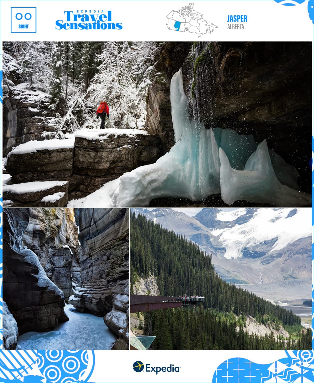frozen falls, caves, and mountain views in jasper, alberta