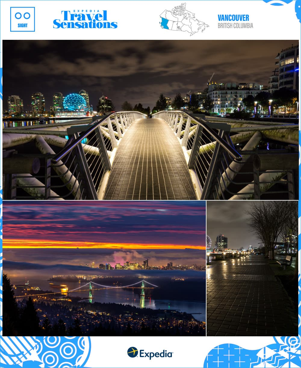 city views of Vancouver BC at night and sunset