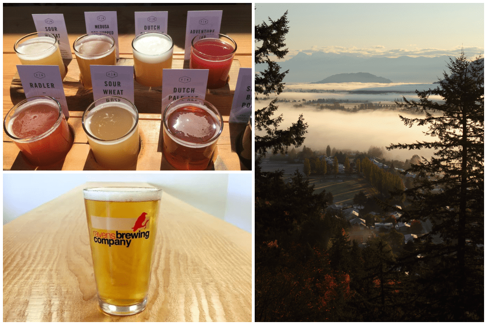 Tasting beer in Abbotsford, British Columbia, and view of Fraser Valley