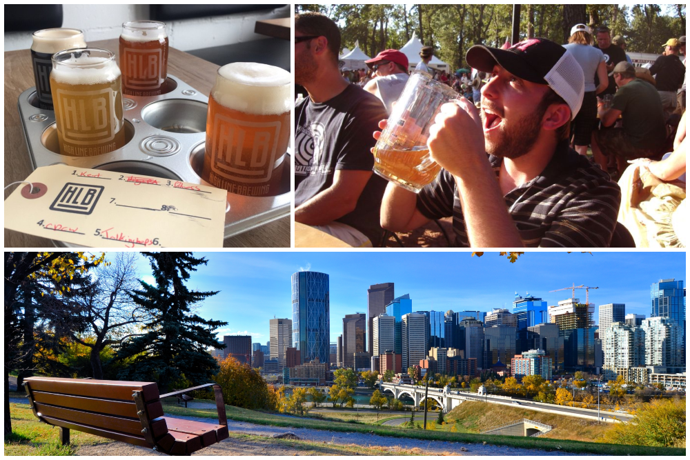 Drinking beer in Calgary Alberta and scenic view of the city