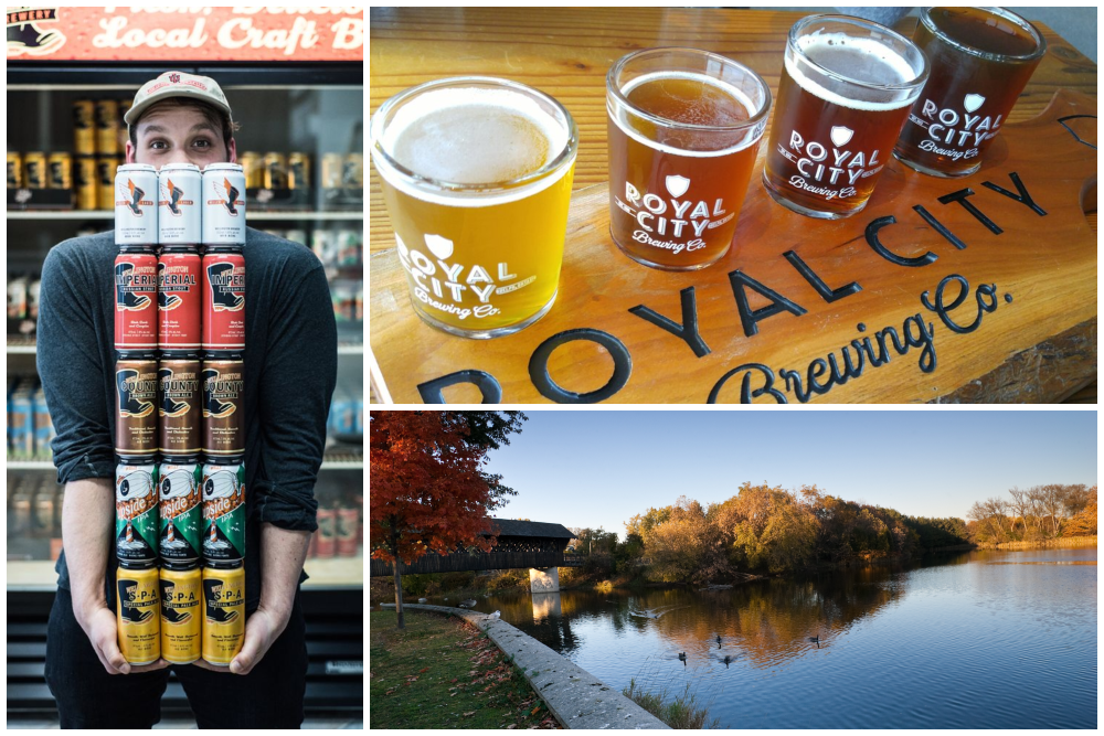 Beer samples and the Speed River in Guelph, Ontario