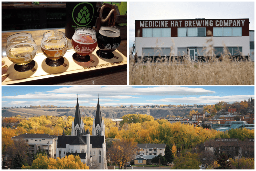 Beer flight and scenery in Medicine Hat, Alberta