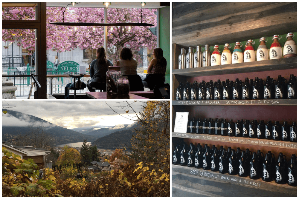 Scenic downtown and beer growlers in Nelson, British Columbia