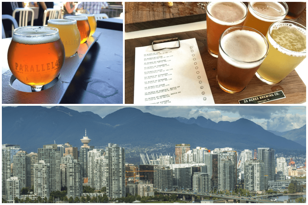 Beer tasting flights and the Vancouver skyline