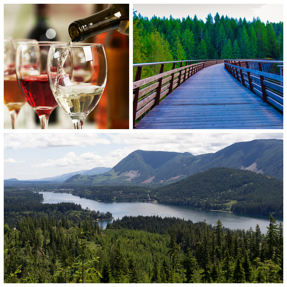 Views of mountains and wine in Cowichan Valley, British Columbia--a top destination for Baby Boomers.
