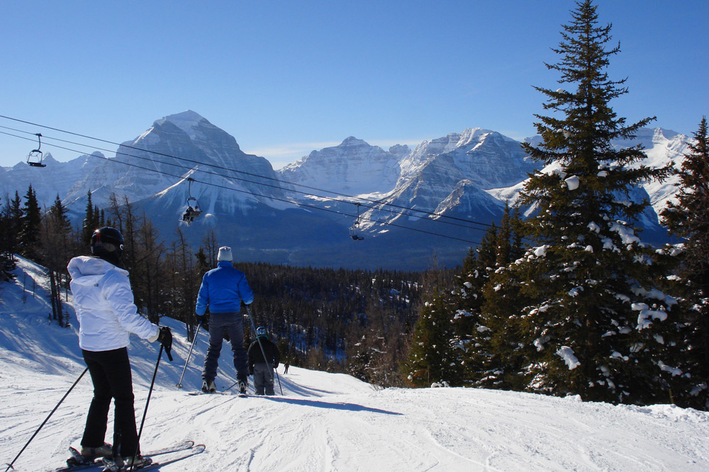 Skiing in Banff, Alberta, one of the best cities to experience winter in Canada