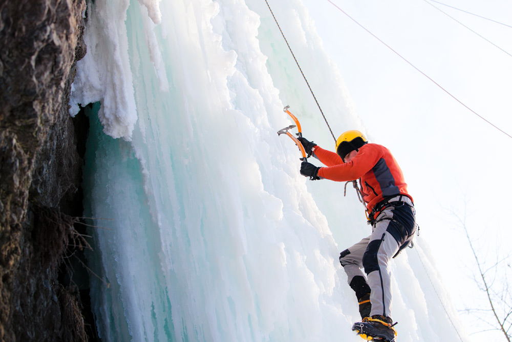 Ice climbing, which you can do in Guelph, Ontario, a top winter city in Canada