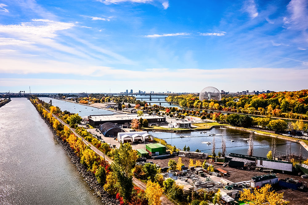 View overlooking the Montreal Saint Lawrence river in Montreal, one of the best places to travel to in 2019.