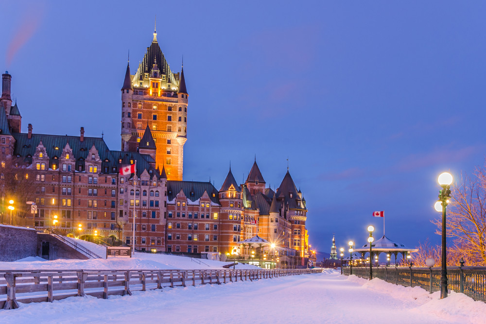Snowy evening in Quebec City, a top winter city