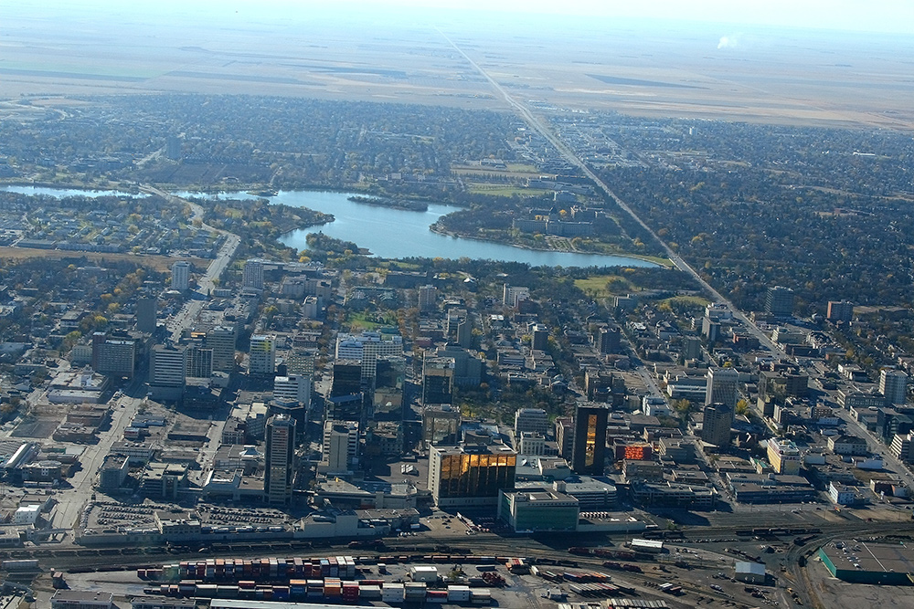 Regina's downtown area with Wascana lake in the background