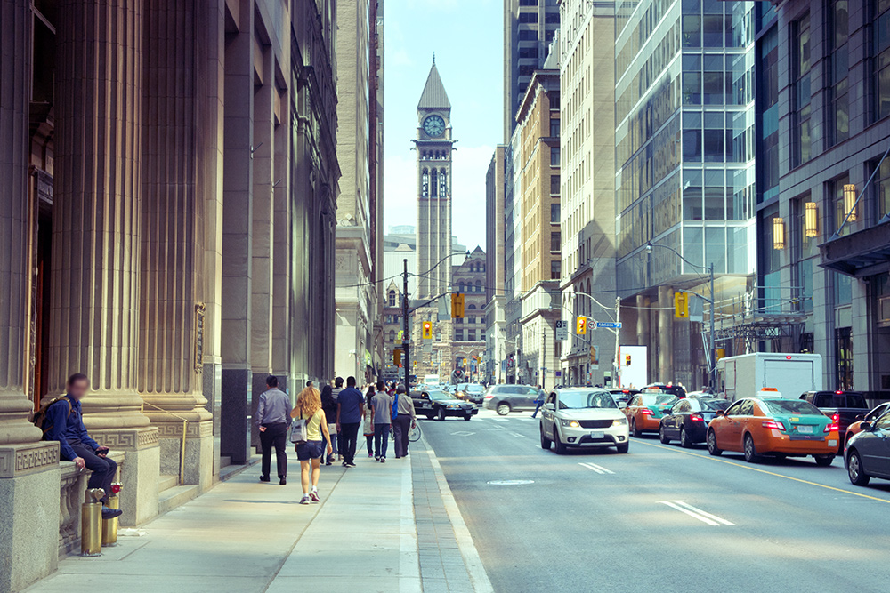 Streets in the busy downtown Toronto area