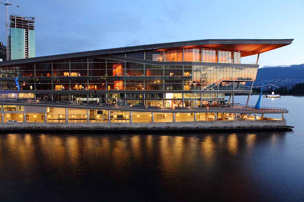 The modern Vancouver Convention Centre in Coal Harbor at dawn