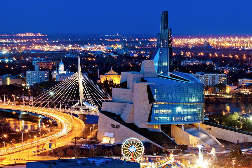 Panorama of downtown Winnipeg, Manitoba at sunset