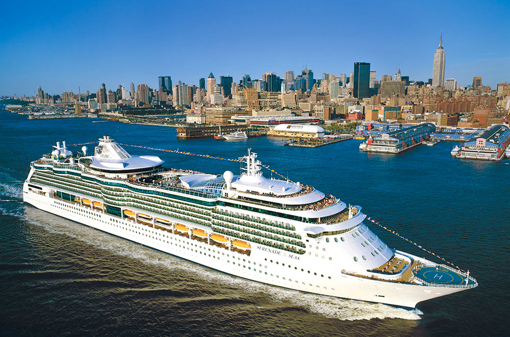 A Royal Caribbean ship sailing though Hudson River